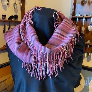 Lord & Taylor soft striped scarf with fringe